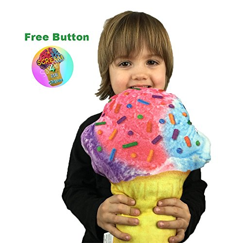 10 Different 12 Inch Novelty Food Throw Pillows (Ice Cream Cone Pillow with Button) (Ice Cream Cone Decor compare prices)