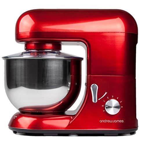 Andrew James 1300 Watt Electric Food Stand Mixer In Stunning Red, Includes 2 Year Warranty, Splash Guard, 5.2...