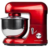 Andrew James 1300 Watt Electric Food Stand Mixer In Stunning Red, Includes 2 Year Warranty, Splash Guard, 5.2 Litre Bowl, And Spatula