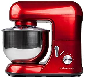Andrew James Electric Food Stand Mixer In Stunning Red, Includes 2 Year Warranty, Splash Guard, 5.2 Litre Bowl, Spatula And 128 Page Food Mixer Cookbook