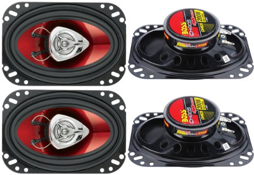 """4) New Boss Ch4620 4X6"""" 400W 2-Way Car Audio Coaxial Speakers Stereo Red"""