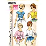 Simplicity 3928 Womens Blouses Vintage Sewing Pattern Size 12 Bust 32