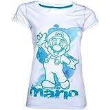 Cheapest NINTENDO Super Mario Brothers Female Skinnie Shirt (S, White/Blue ) on Clothing
