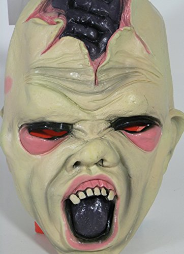 Scary Evil Zombie Exposed Brain Halloween Costume Latex Mask