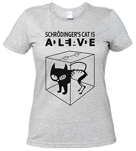 SCHRÖDINGERŽS CAT IS ALIVE DEAD I T-SHIRT WOMAN GIRLIE DONNA SHIRT - gatto The Big Schroedinger chat TV Bang Theory Geek Nerd Taglie S - 5XL