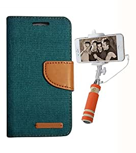 Aart Fancy Wallet Dairy Jeans Flip Case Cover for Redmi2S (Green) + Mini Fashionable Selfie Stick Compatible for all Mobiles Phones By Aart Store