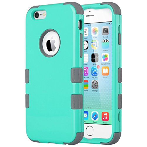iPhone 6S Case, iPhone 6 Case, ULAK Shock-Absorbing Case with Hybrid 3in1 Soft Silicone + Hard PC Cover for Apple iPhone 6/6S 4.7 Inch Device (Mint Green/Grey) (Iphone 6 3in1 Hard Hybrid Case compare prices)