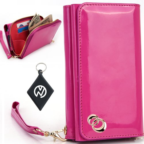 Great Price Apple iPhone 5S Women's Uptown Wristlet Wallet Clutch with Dual Compartment, Built-In Credit Card Slots and Internal Zipper Pocket. Includes one Detachable Wrist Strap. Color: Magenta Patent Leather + NuVur ™ Keychain (SUNIWMM1)