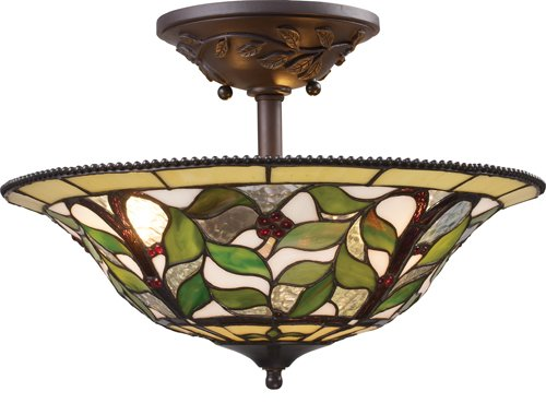 Landmark 08015-TBH Latham 3-Light Semi-Flush Mount, 15-Inch, Tiffany Bronze with Highlight