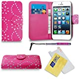 Apple iPhone 5 / 5G / 5S Pink Diamond Bling Sparkly Glitter Leather Wallet Flip Case Cover Pouch + Diamond Retractable Touch Stylus Pen + Screen Protector & Polishing Cloth