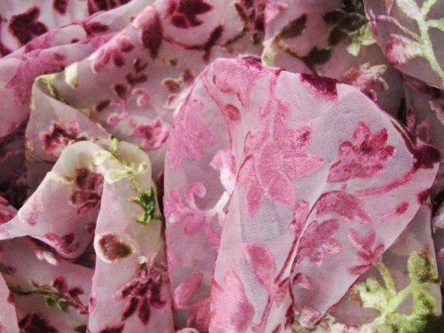 Hand Dyed Jasmine Floral Burnout Cut Devore Velvet Fabric Yardage Rose Pink Olive Green