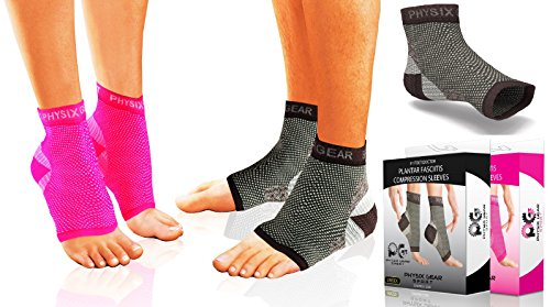 Plantar Fasciitis Compression Sleeves - Heel Spurs Pain Relief Arch Support Sock (Black L/XL)