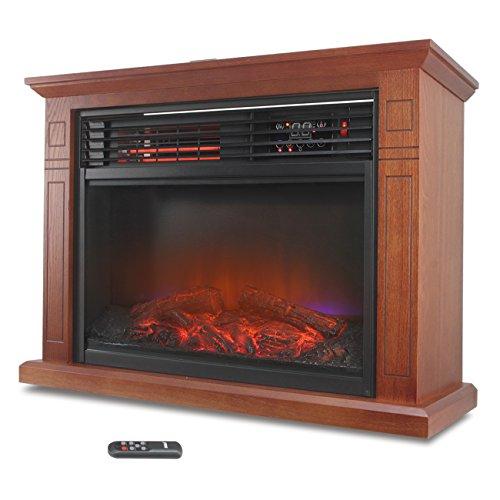 Della 1500W Infrared Quartz Deluxe Fireplace Heater Flame Mantel w/ Caster w/ Remote, Walnut (Infrared Quartz Stove Fireplace compare prices)