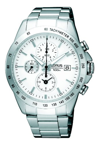 Lorus by Seiko Chronograph White Dial Stainless Steel Bracelet Gents Watch RF849DX9