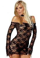 Juliet's Kiss Elégant Ann noire résille dentelle à manches longues See Through Robe Teddy Summers Lingerie One Bedroom taille adapte UK 6-12 Inclut string assorti