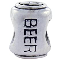 Biagi Beer Can Sterling Silver Bead, Pandora Compatible