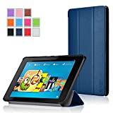 Fire HD 6 Case - Exact Amazon Fire HD 6 Case [SLENDER Series] - Ultra Slim Lightweight Smart-Shell Stand Case for Amazon Kindle Fire HD 6 (2014) Navy Blue
