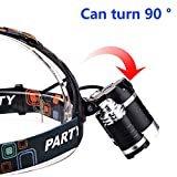 Keku LED High Power Headlamp Rechargeable Waterproof Head Flashlight Lamp with 3 Xm-l T6 4 Modes