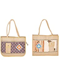 National Jute 8 Liters Brown Shopping Bags (Pack Of 2)