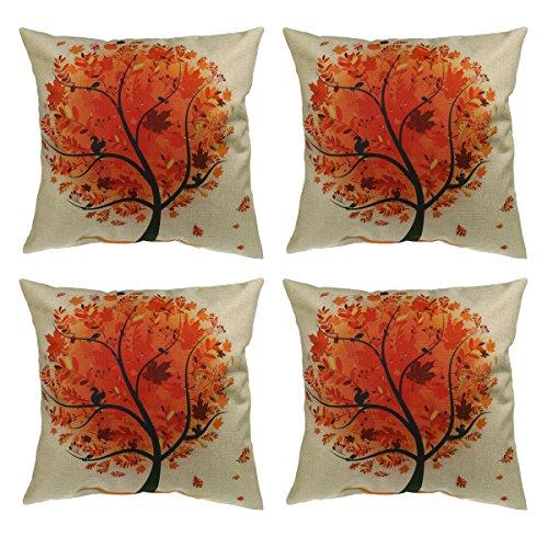 Luxbon 4er Set Gelb Herbst Lebensbaum Jahreszeit Baum Leinen Kissenbezug Kissenhülle Sofakissen Pillowcase Haus Auto Deko 18 x 18 ''