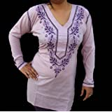 Plain Purple Cotton Ladies Tunic Top with Beautiful Embroidered At Neckline and Sleeve