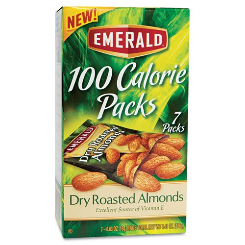 Emerald Products - Emerald - 100 Calorie Pack Dry Roasted Almonds, .63 oz Packs, 7 Packs/Box - Sold As 1 Box - A healthy and satisfying go-to snack. - An excellent source of vitamin E, calcium and iron. - Perfectly sized to quiet your hunger. - Calorie counting made simple-a great weight management advantage. -