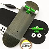 Peoples Republic Black Complete Wooden Fingerboard w Nuts Trucks - Basic Bearing Wheels