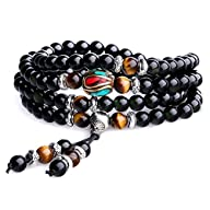 AmorWing Unique Gift Multilayer Tiger Eye and Obsidian Malas Prayer Beads Bracelet