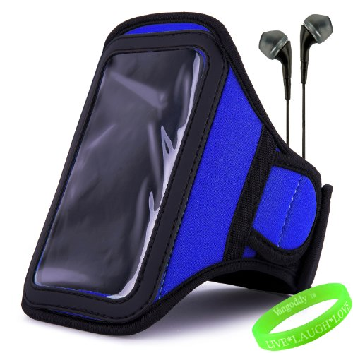 Vangoddy Active Bundle - Neoprene Sweat-Proof Armband Pouch W/ Key & Id Card Holder Fits Samsung Galaxy S4 Android Smartphone // Navy Blue \\ + Black Earphone Buds W/ Microphone