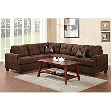 Boss Furniture F7627 Chocolate Plush Microfiber Sectional Sofa With Reversible Wedge