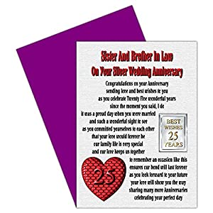 Sister & Brother In Law 25th Wedding Anniversary Card With Removable ...