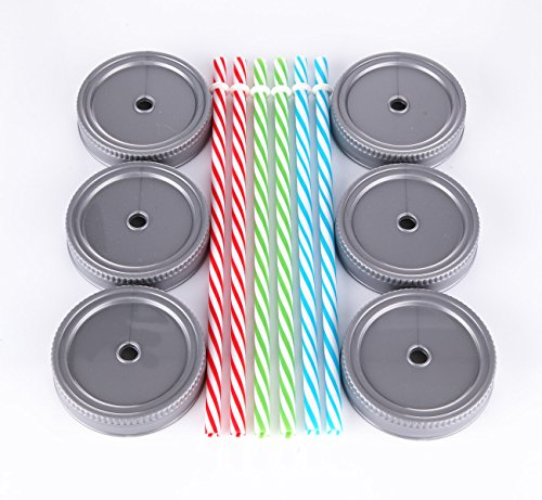 Cupture® 6 Regular Mouth Mason Jar Straw Lids with Stripped Straws (Mason Jars Wide Mouth 4 Oz compare prices)
