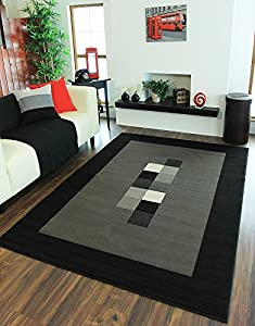 Milan Soft Modern Black & Grey Border Rug 777-H51 - 5 Sizes from The Rug House