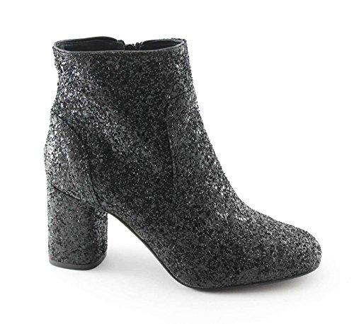 DIVINE FOLLIE 2401 nero stivaletti donna tronchetti tacco zip glitter 38