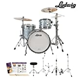 Ludwig USA Classic Maple 3 Pc Drum Kit in Sky Blue Pearl (L8303AX52WC) - Includes: Hardware, Drumsti