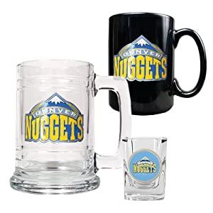 NBA Denver Nuggets 15-Ounce Tankard, 15-Ounce Ceramic Mug & 2-Ounce Shot Glass... by Great American Products