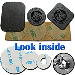 Replacement Kit for Magnetic Phone Car Holder 3M Adhesive Metal Plate Slim metallic Disc Alcohol Wiper [Dashboard Air Vent Mount] GIFT Sticky Pad Non-slip Washable Reusable Gooey Mat by Tiger'sPaw