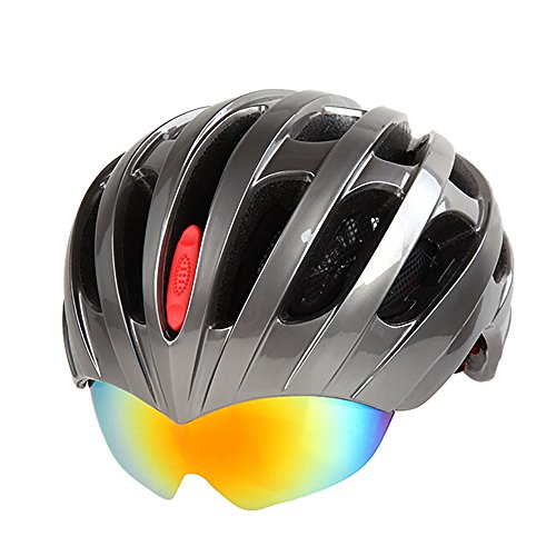 Modovo-Adult-Multi-Sport-Bike-Helmet-EPS-Foam-Padded-with-Adjustable-Goggle-Gray