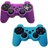 HDE 2 Pack Protective Silicone Gel Cover Skin for Sony Playstation 3 PS3 Gaming Controllers (Purple + Sky Blue)