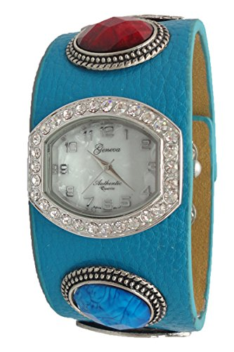 Geneva Authentic Engravable Tag Faceted Crystal Mother Of Pearl Dial Women'S Watch L5015