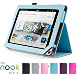 "GMYLE Light Blue PU Leather Slim Folio Magnetic Flip Stand Case Cover with Wake Up Sleep Function for Barnes & Noble Nook HD+ Plus 9 "" inches Tablet"