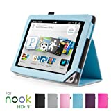 "GMYLE(TM) Light Blue PU Leather Slim Folio Magnetic Flip Stand Case Cover with Wake Up Sleep Function for Barnes & Noble Nook HD+ Plus 9 "" inches Tablet"