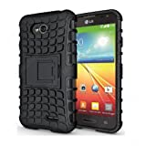 CaseMachinee Flip Kick Stand Hard Dual Armor Hybrid Bumper Back Case Cover For LG L70 D325 Dual Sim - Black
