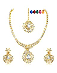 Sukkhi Magnificent Gold Plated AD Necklace Set With Set Of 5 Changeable Stone