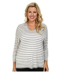 Calvin Klein Plus Women's Plus Size Striped Hood Sweater Heather Grey Stripe Sweater 3X