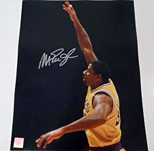 Magic Johnson Signed 11x14 Photo w COA Los Angeles Lakers L.A. Michigan St. #6 by KDSignatures