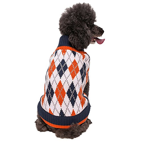 Blueberry Pet 20″ Back Length Chic Argyle All Over Dog Sweater in Midnight Blue and Dark Princeton Orange Size:XX-Large