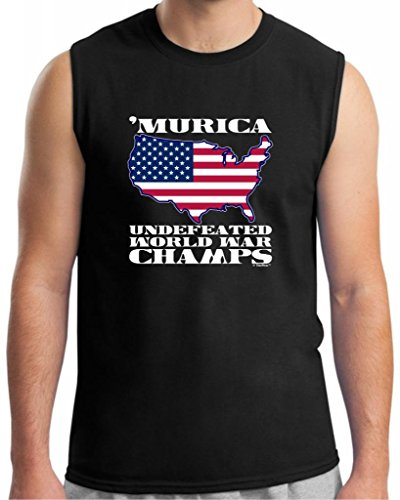 Murica Undefeated World War Champs Sleeveless T-Shirt Small Black front-941138