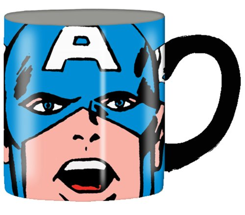 Silver Buffalo Marvel Comics Captain America Close Up Ceramic Mug, 14 Ounces, Multicolored (Mc7232)