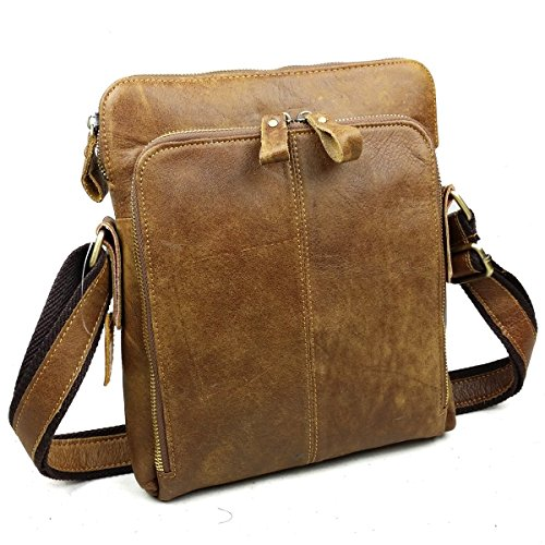 Cheap Mens Vintage Brown Genuine Leather Travel Messenger Bag For iPad Crossbody Shoulder Bag